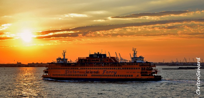 Sunset in New York harbour.